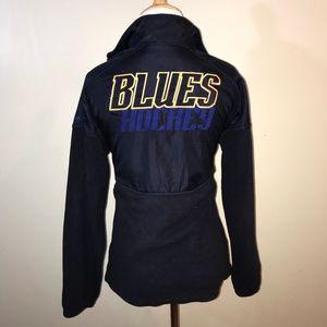 Navy Louis Blues 1//4 Zip Active Pullover Hoodie Reebok NHL Youth Girl/'s St